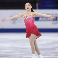 Rika Kihira competes in the women's free skate in the Junior Grand Prix Final on Saturday. She placed fourth for the second straight year. | KYODO