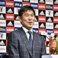 Manager Hajime Moriyasu announces the Japan squad for the Asian Under-23 Championship at a news conference in Tokyo on Tuesday. | KYODO