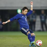Japan's Yu Kobayashi scores from the penalty spot in the third minute. | KYODO