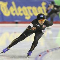 Miho Takagi races during the women's 3,000-meter competition  in a World Cup speedskating event in Calgary, Alberta, on Friday. | AP