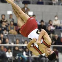 Kenzo Shirai competes in the floor exercise at the Toyota International Gymnastics Competition on Saturday. Shirai won the event for the third consecutive year. | KYODO