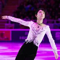 Yuzuru Hanyu, seen skating during the Cup of Russia exhibition, is assured of a place in the 2019 Olympics despite having to miss the upcoming national championships. | KYODO