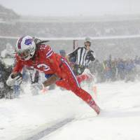 Bills receiver Kelvin Benjamin scores against the Colts during the first half on Sunday in Orchard Park, New York. | AP