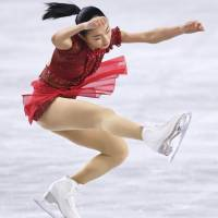 Kaori Sakamoto, who finished as the women's runner-up, performs to 'Amelie' in the free skate on Saturday. | KYODO
