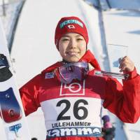 Sara Takanashi poses after finishing third at a World Cup ski jumping event in Lillehammer, Norway, on Sunday. | KYODO