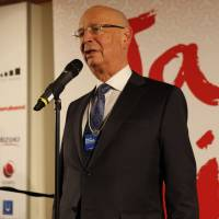 Klaus Schwab, founder and executive chairman of the World Economic Forum, delivers a speech at the 2017 Japan Night reception. | THE JAPAN NIGHT ORGANIZATION COMMITTEE