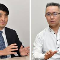 Tomotaka Goji, managing partner and president of venture capital firm The University of Tokyo Edge Capital Co., has great confidence in Japanese startups. Right: Toshio Nawa, executive director and senior security analyst at Cyber Defense Institute, Inc., stresses the necessity to further strengthen cybersecurity efforts.   YOSHIAKI MIURA