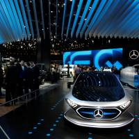 The Mercedes Concept EQA show car fronts their booth at the North American International Auto Show in Detroit Monday. | REUTERS