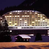 The Intercontinental hotel in Davos, Switzerland, is seen Thursday. U.S. President Donald Trump stays there for one night during his two-day visit to the World Economic Forum. | AP