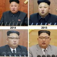 North Korean leader Kim Jong Un is seen giving his New Year's address over the years in these photos released by the official Korean Central News Agency.   REUTERS