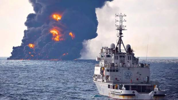 Black smoke billows from tanker sinking site as worries grows over Japan EEZ sea damage