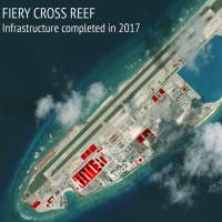 An annotated satellite image of Fiery Cross Reef in the Spratly island chain of the South China Sea shows areas where China has conducted construction work above ground during 2017. | CSIS ASIA MARITIME TRANSPARENCY INITIATIVE / DIGITALGLOBE / VIA AP