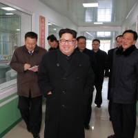 North Korean leader Kim Jong Un visits the Pyongyang Pharmaceutical Factory in this undated photo released Thursday. | KCNA / VIA REUTERS