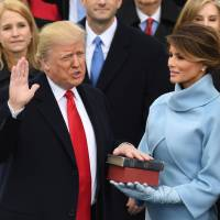 Donald Trump is sworn in as U.S. president at the Capitol in Washington on Jan. 20, 2017. | AFP-JIJI