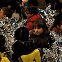 Children from The American School in Japan Early Learning Center attend a disaster drill held at the Roppongi Hills complex located in Tokyo's Minato Ward on Wednesday, the 23rd anniversary of the Great Hanshin Earthquake. | MAGDALENA OSUMI