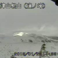 A screenshot of video footage from the Meteorological Agency's website shows Mount Kusatsu-Shirane in the town of Kusatsu, Gunma Prefecture, on Tuesday morning. | KYODO
