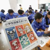 Pupils at an elementary school in Fukushima Prefecture discuss on Dec. 11 which characters they will vote for as the official mascots of the 2020 Tokyo Olympics and Paralympics. | KYODO