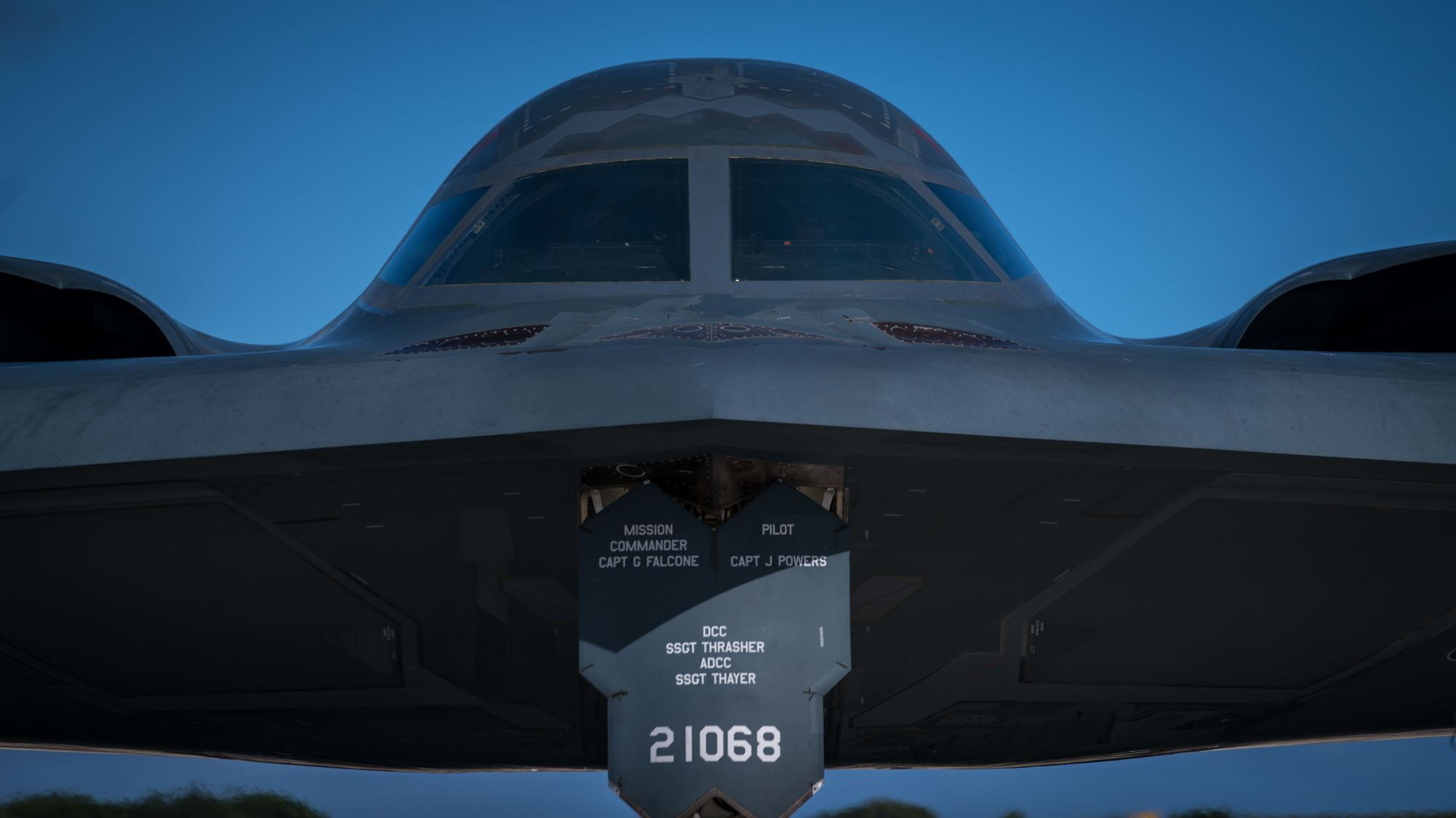 A B-2 stealth jet taxis at Andersen Air Force Base in Guam on Jan. 8. The U.S. has been deploying bombers and aircraft carriers to Guam, raising speculation it is preparing for a military conflict. | U.S. AIR FORCE