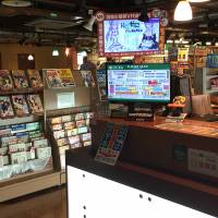 The counter of an internet cafe is shown in Tokyo's Akihabara district on Monday. As many as 4,000 homeless people may be taking shelter at 24-hour internet and manga cafes in Tokyo, according to a survey conducted by the metropolitan government. | SATOKO KAWASAKI