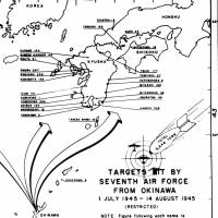 This U.S. document shows U.S. forces in Okinawa targeted sites in Kyushu and Honshu for bombing runs. | KYODO