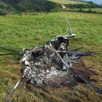 A wrecked U.S. military CH-53E transport helicopter is seen in October after it made an emergency landing in Higashi, Okinawa Prefecture, near the Northern Training Area. | KYODO