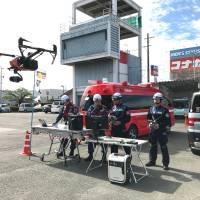 Drones can offer assistance in a number of tight situations. | COURTESY OF YAIZU CITY CRISIS MANAGEMENT DIVISION