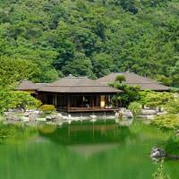 The borrowed scenery of Mount Shiun blends seamlessly with the pine-fringed ponds of Ritsurin Garden.   LILY CROSSLEY-BAXTER