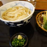 Local Sanuki udon served with a side of tempura vegetables at Shinpei Udon.   LILY CROSSLEY-BAXTER