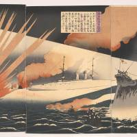 A woodblock print titled 'The Great Naval Battle of Haiyang Island' by artist Bairin and carver Hori Yata (1894) | THE GENE AND SUSAN ROBERTS COLLECTION