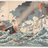 Artist: Nakamura Shuko; publisher: Sekiguchi Masajiro: 'The Japanese Destroyer's Great Victory off Haiyang Island' (1894) | COURTESY OF THE GENE AND SUSAN ROBERTS COLLECTION