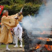 Off the beaten track, for now: The Bussharito Festival on Shiraishi Island includes a goma ceremony intended to invoke the god of fire. The small Seto Inland Sea island communities have a full calendar of cultural activities to wow foreign tourists, were any to come. | AMY CHAVEZ