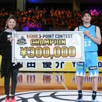 Kyoto's Yusuke Okada solidified his reputation as a potent perimeter marksman by winning the 3-Point Contest on Sunday. | B. LEAGUE