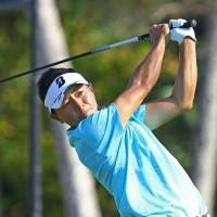 Daisuke Kataoka plays a shot at the Sony Open on Friday in Honolulu. | KYODO