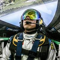 Yoshihide Muroya pilots his plane during practice for the final event of the 2017 Red Bull Air Race World Championship season at Indianapolis Motor Speedway on Oct. 13, 2017. Muroya won the event to clinch the overall series championship.   PREDRAG VUCKOVIC / RED BULL CONTENT POOL
