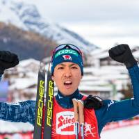 Akito Watabe reacts during the Seefeld Nordic Combined Triple on Sunday in Seefeld, Austria. Watabe won the event to become just the second athlete to sweep the three-day event. | AFP-JIJI