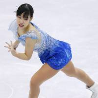 Mai Mihara dazzles during the women's free skate on Friday. Mihara placed second with 210.57 points. | KYODO