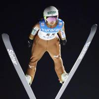 Sara Takanashi makes her first attempt during a World Cup ski jumping event in Zao, Yamagata Prefecture, on Friday.   KYODO