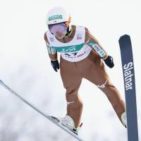 Sara Takanashi competes in a World Cup ski jumping event in Sapporo on Sunday. | KYODO