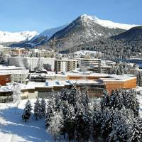 Aerial view of the congress center in Davos, Switzerland. | SWISS-IMAGE.CH