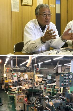 Shu Yamamoto, an officer of Iino Manufacturing Co., Ltd. and manager of the Association of Southeast Asian Nations Business Department, as well as the Sales Department. Bottom: Examples of products and a factory interior.