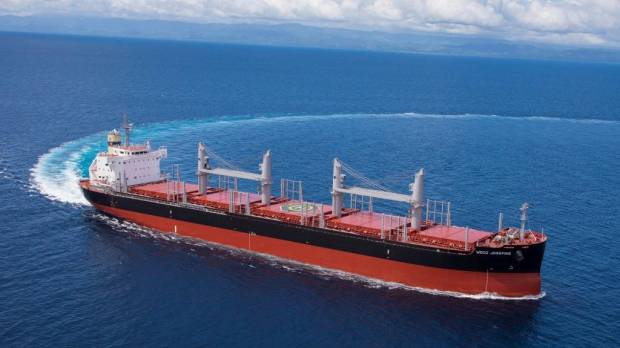 """TSUNEISHI SHIPBUILDING Delivers First """"TESS38"""" Ship &#8211; Its 38,300-tonne Log and Bulk Carrier<br /> <br />"""