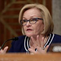 Sen. Claire McCaskill (D-MO) questions Kirstjen Nielsen on her nomination to be secretary of the Department of Homeland Security (DHS) during a hearing before the Senate Homeland Security and Governmental Affairs Committee in Washington in November. | REUTERS