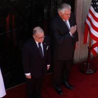 U.S. Secretary of State Rex Tillerson pays homage to Argentine hero Jose de San Martin alongside Argentine Foreign Minister Jorge Faurie at San Martin Palace in Buenos Aires Sunday. | REUTERS