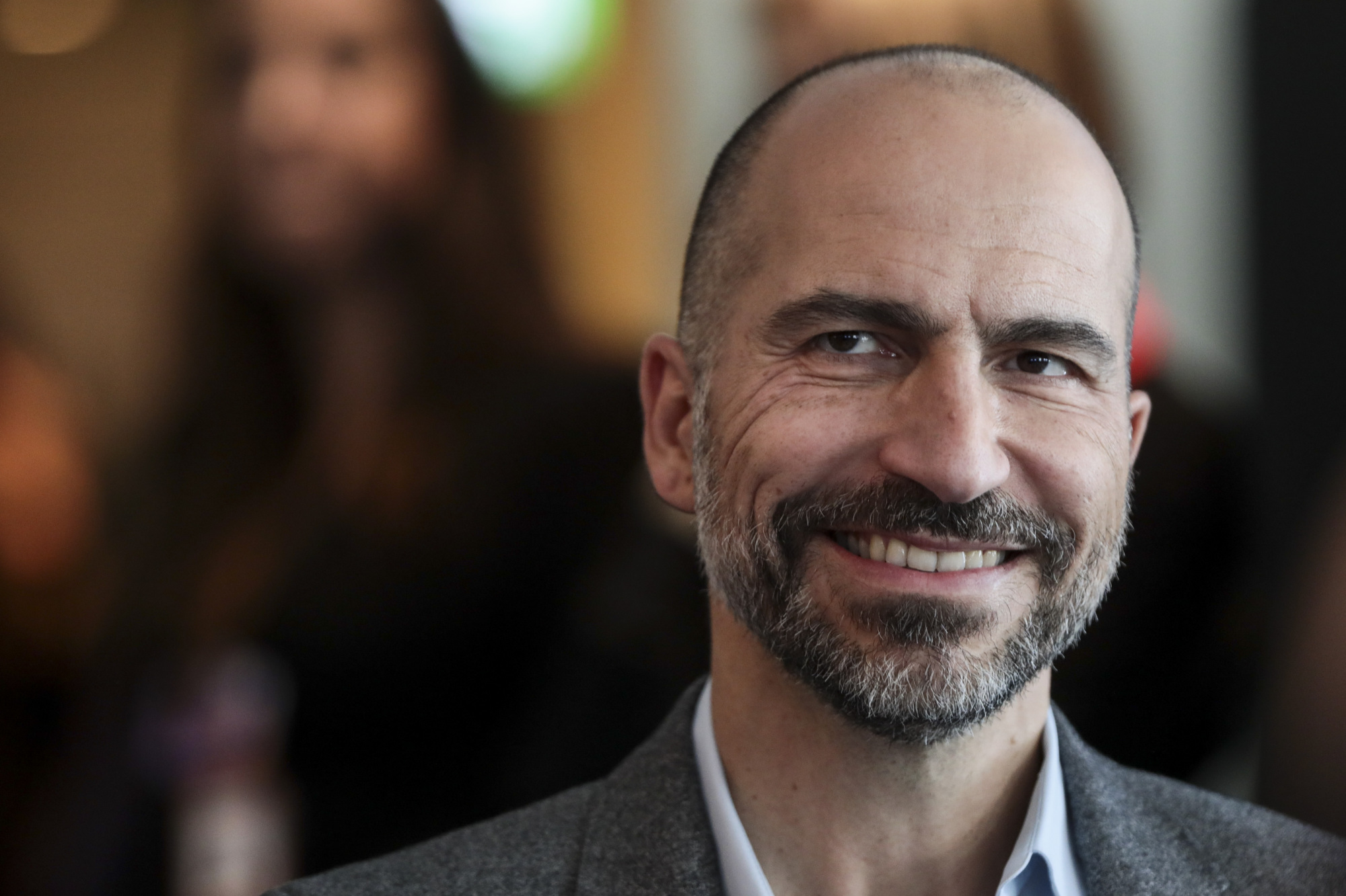 Dara Khosrowshahi, CEO Uber Technologies Inc., on Thursday posted a photo of him and Toyota Motor Corp. President Akio Toyoda on Twitter, saying they had great discussions about their autonomous partnership. | BLOOMBERG