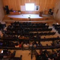 Syrians attend the screening of the Oscar nominated film 'Last Men in Aleppo' at the university of Idlib in the country's rebel-held province on Monday. | AFP-JIJI