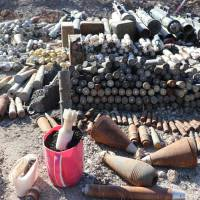 The 2016 photo provided by UNMAS on Wednesday, shows stockpiles of explosives near the Al Shifa Hospital in west Mosul, Iraq. The head of the U.N.'s mine-clearing agency in Iraq says it will have to reassess priorities with the government in Baghdad if a major donors conference fails to drum up enough funds for the country as it rebuilds. | UNMAS / VIA AP