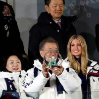 South Korean President Moon Jae-in (front center) and senior White House adviser Ivanka Trump (front, second from right) and Kim Yong Chol (back right), head of the North Korean Olympic delegation, attend the closing ceremony of the Pyeongchang 2018 Winter Olympics in Pyeongchang, South Korea, on Sunday. | REUTERS