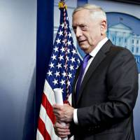 Jim Mattis, U.S. secretary of defense, walks out after speaking during a White House press briefing in Washington on Wednesday. Mattis said the Pentagon has been putting together options for a possible parade of U.S. military might and those will be sent up to the president for a decision. | BLOOMBERG