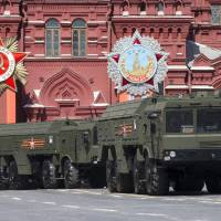 Iskander missile launchers are driven during the Victory Parade marking the 70th anniversary of the defeat of the Nazis in World War II, in Red Square in Moscow in 2015. Lithuania's president says Russia has deployed additional nuclear-capable missiles in its Baltic Sea exclave of Kaliningrad on a permanent basis, calling it a threat to Europe. | AP