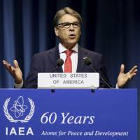U.S. Energy Secretary Rick Perry delivers a speech during the general conference of the International Atomic Energy Agency in Vienna last September.   AP